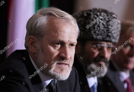 Stock Picture of The Head of the Chechen Government in Exile Ahmed Zakayev (l) and Aslambek Kekharsaev (r) Representative of Chechen Government in Poland During a Press Conference After of the World Congress of the Chechen Nation in Pultusk North of Warsaw on 18 September 2010 a Polish Court Ordered Exiled Chechen Leader Akhmed Zakayev Freed Late on 17 September While Russia's Demand For His Extradition is Decided the Warsaw District Court Rejected a Request by Prosecutors to Place Zakayev Under Temporary Arrest For 40 Days He Had Been Arrested Earlier on 17 September by Polish Police on an International Warrant Issued by Russia Through Interpol Zakayev Arrived on 16 September in Poland to Attend a Two-day World Chechen Congress in Pultusk in Central Poland Epa/pawel Supernak Poland out Poland Pultusk