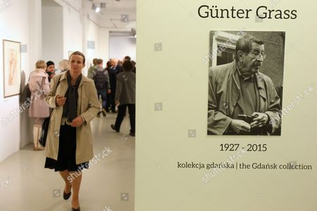 Stock Image of Vistors Attend the Exhibition 'Guenter Grass - the Collection of Gdansk' in Gdansk Poland 05 May 2015 the Exhibition Displays Etchings Aquatints Prints Lithographs and Drawings Done by German Guenter Grass Recipient of the 1999 Nobel Prize in Literature the Exhibits Belong to the Gdansk National Museum and the Gunter Grass Gallery Poland Gdansk