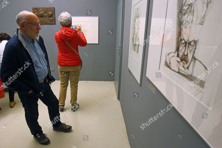 Visitors Look at Artworks by German Guenter Grass Recipient of the 1999 Nobel Prize in Literature During the Exhibition 'Guenter Grass - the Collection of Gdansk' in Gdansk Poland 05 May 2015 the Exhibition Displays Etchings Aquatints Prints Lithographs and Drawings Done by Grass and the Exhibits Belong to the Gdansk National Museum and the Gunter Grass Gallery Poland Gdansk