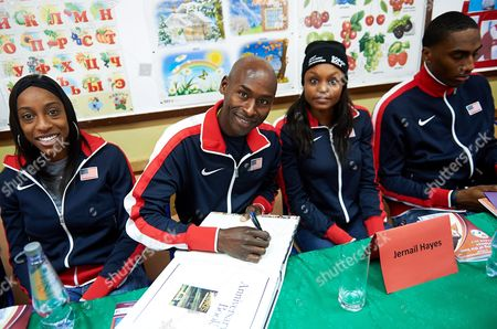 Us Athletes (l-r): Runners Chanelle Price Bernard Lagat Jernail Hayes and High Jumper Erik Kynard During a Visit of the Usa Team at the School Sports in Gdansk Poland 05 March 2014 the 15th Iaaf World Indoor Championships in Athletics Will Be Held From 07- 09 March 2014 in Sopot Poland Gdansk