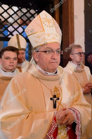 Apostolic Nuncio to Poland Archbishop Celestino Migliore (c) is Seen During a Mass to Mark the 1 050th Anniversary of Poland Becoming a Christian Nation at Royal Gniezno Cathedral in Gniezno Poland 14 April 2016 Mieszko i the First Ruler of the Polish State Accepted Christianity in 966 Poland Gniezno
