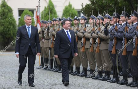 Polish Defence Minister Tomasz Siemoniak (l) and Canada's Defence Minister Jason Kenney (r) Inspect the Guards During a Ceremony in Warsaw Poland 09 June 2015 Poland Warsaw