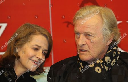 British Actress Charlotte Rampling and Dutch Actor Rutger Hauer During the Press Conference of the Presentatation of the Movie 'The Mill and the Cross' in Warsaw Poland 14 March 2011 'The Mill and the Cross' Based on the Michael Francis Gibson's Book of the Same Name That Features Rutger Hauer Charlotte Rampling and Michael York is Inspired by Pieter Bruegel's 1564 Artwork 'The Procession to Calvary' the Movie by Lech Majewski is Due out During 2011 Poland Warsaw