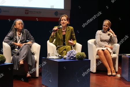 Philippine Journalist and Women Rights Activist Ninotchka Rsca (l) Former Prime Minister of Ukraine Yulia Tymoshenko (r) and Journalist Anne Applebaum (l) the Moderator of the Panel Are Seen During the Panel Discussion Women For Democracy Part of the High Level Democracy Meeting Marking the 10th Anniversary of the Community of Democracies Held in Krakow Poland on 03 July 2010 the Community of Democracies is an Organization of Over 100 Countries Dedicated to the Promotion of Democracy and Consolidation of Democratic Institutions Around the World Poland Krakow