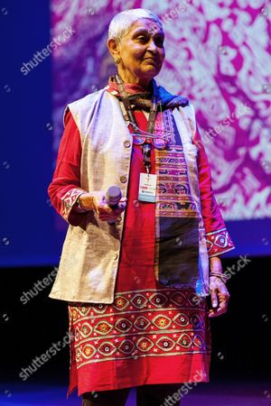 Indian Literary Theorist Philosopher and University Professor at Columbia University Gayatri Chakravorty Spivak Looks on After Receiving the Transatlantic Glocal Hero Award 2014 From the Polish Oscar-winning Film Music Composer Jan a P Kaczmarek (unseen) During the Transatlantic Festival in Poznan Poland 13 August 2014 Kaczmarek is the Founder and Director of the Festival and Won the Oscar Award For His Music For the 2005 Film 'Finding Neverland' by Marc Foster the Transatlantic Festival Will Last Until 14 August Poland Poznan