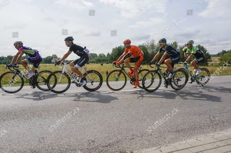 (l-r) Italy's Biccolo Bonifazio Fo Lampre-merida Japan's Fumiyuki Beppu of Trek Factory Racing Italy's Davide Rebellin of Ccc Polsat Polkowice Spain's Jose Juan Lobato of Movistar Team and Dutchman Barry Markus of Bielkin-procycling Team in Action During the Third Stage Tour De Pologne a 174 Km Cycling Race From Kielce to Rzeszow Near the Village of Niwy Deleszyckie Poland 05 August 2014 Poland Niwy Deleszyckie