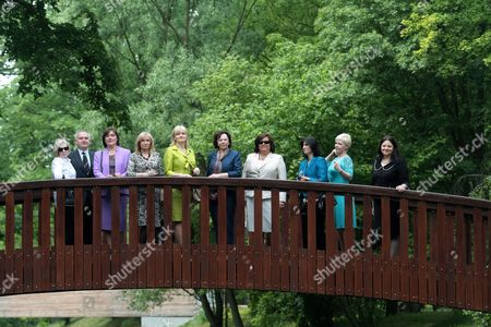 (2l-r) Kazimierz Monkiewicz From the Frederic Chopin International Institute Croatian First Lady Tatjana Josipovic Latvian First Lady Lilita Zatlers Montenegrin First Lady Svetlana Vujanovic Slovenian First Lady Barbara Miklic Turk Polish First Lady Anna Komorowska Albanian First Lady Teuta Topi Estonian First Lady Evelin Ilves and Macodonian First Lady Maja Ivanov Visit Frederic Chopin's Birthplace in Zelazowa Wola Poland 27 May 2011 the Presidents of 20 Central European Countries on 27 May Opened a Meeting in Warsaw to Discuss Recent Transformations in the Arab World and the Region's Transition Towards Democracy Poland Zelazowa Wola