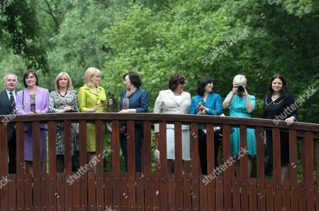 (l-r) Kazimierz Monkiewicz From the Frederek Chopin International Institute Croatian First Lady Tatjana Josipovic Latvian First Lady Lilita Zatlers Montenegrin First Lady Svetlana Vujanovic Slovenian First Lady Barbara Miklic Turk Polish First Lady Anna Komorowska Albanian First Lady Teuta Topi Estonian First Lady Evelin Ilves and Macodonian First Lady Maja Ivanov Visit Frederic Chopin's Birthplace in Zelazowa Wola Poland 27 May 2011 the Presidents of 20 Central European Countries on 27 May Opened a Meeting in Warsaw to Discuss Recent Transformations in the Arab World and the Region's Transition Towards Democracy Poland Zelazowa Wola