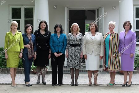 (l-r) Montenegrin First Lady Svetlana Vujanovic Slovenian First Lady Barbara Miklic Turk Macodonian First Lady Maja Ivanov Albanian First Lady Teuta Topi Latvian First Lady Lilita Zatlers Polish First Lady Anna Komorowska Estonian First Lady Evelin Ilves and Croatian First Lady Tatjana Josipovic Pose For a Picture During a Visit to Fryderyk Chopin's Birthplace in Zelazowa Wola Poland 27 May 2011 the Presidents of 20 Central European Countries on 27 May Opened a Meeting in Warsaw to Discuss Recent Transformations in the Arab World and the Regions Transition Towards Democracy Poland Zelazowa Wola