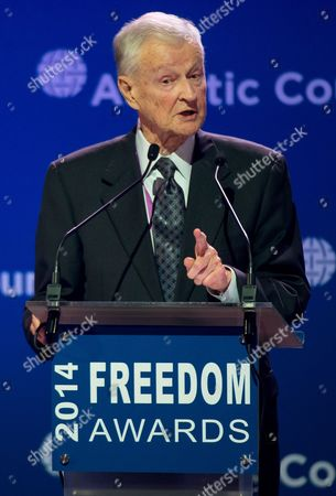 Us Political Scientist Zbigniew Brzezinski Delivers a Speech at an Award Ceremony Freedom Awards 2014 During the Wroclaw Global Forum 2014 in Wroclaw Poland 06 June 2014 the Annual Conference Organized by the Atlantic Council is Held on Transatlantic Economic Cooperation and Political Relations Between the Eu and the Us Poland Wroclaw