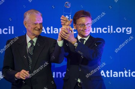 American Political Scientist Zbigniew Brzezinski (l) Receives the Freedom Awards 2014 From President of the Polish-american Freedom Foundation Jerzy Kozminski (r) at an Award Ceremony During the Wroclaw Global Forum 2014 in Wroclaw Poland 06 June 2014 the Annual Conference Organized by the Atlantic Council is Held on Transatlantic Economic Cooperation and Political Relations Between the Eu and the Us Poland Wroclaw