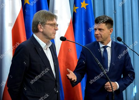Member of the European Parliament Leader of the Group of the Alliance of Liberals and Democrats For Europe Guy Verhofstadt (l) and the Leader of Polish Nowoczesna Party Ryszard Petru (r) During a Press Conference in Polish Parliament in Warsaw Poland 13 October 2016 the Main Theme Presented was the Future of the Eu After Brexit Politicians Presented Consequences For the Future of Poland European Union and Europe After the Brexit Would Supervene Poland Warsaw