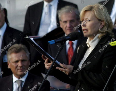 Famous Polish Actress Krystyna Janda (r) and Poland's President Aleksander Kwasniewski (l) During the Ceremony of Signing the Erection Act For the Construction of the European Solidarity Centre on Solidarity Square in Gdansk on Wednesday 31 August 2005 the Centre to Be Created at the Site of the Gdansk Shipyard Will Monitor Human Rights in the World and Disseminate the Ideas of Democratic Freedom and Independence Poland Gdanks