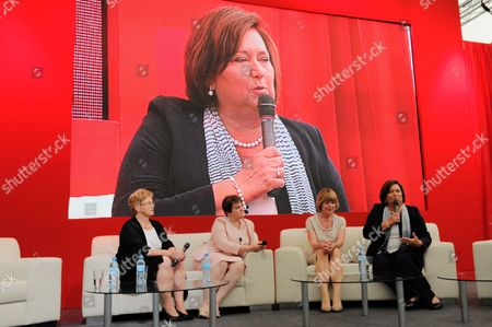 Poland's First Lady Anna Komorowska (r) Germany's First Lady Daniela Schadt (2-r) and Former Polish First Lady Danuta Walesa (l) Attend the Debate 'The Love and Activity' As Part of the Festival Karuzela Cooltury (carousel Culture) in Swinoujscie Poland 21 July 2013 Poland Swinoujscie