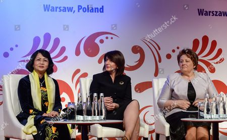 Vice President of Vietnam Dang Thi Ngoc Thinh (l-r) Former President of Kosovo Atifete Jahjaga and Former Prime Minister of Latvia Laimdota Straujuma at the Opening of the Global Summit of Women 2016 in Warsaw Poland 09 June 2016 the Summit Called Women's Davos is Forum For Exchanging Ideas with Women Around the World Representing Various Sectors - Economy Politics and Ngos the Global Summit of Women 2016 Under Slogan 'Women - Building an Inlcusive Economy in the Digital Age' Runs From 09 June to 11 June Poland Warsaw