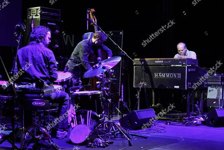 Musicians Billy Martin (l-r) Chris Wood and John Medeski of the Us Jazz Trio Medeski Martin and Wood Perform During a Concert at the Era Jazz Festival in Warsaw Poland 19 April 2012 Poland Warsaw