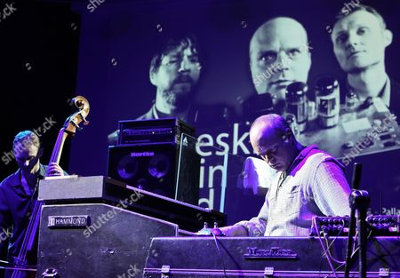 Musicians Chris Wood (l) and John Medeski (r) of the Us Jazz Trio Medeski Martin and Wood Perform During a Concert at the Era Jazz Festival in Warsaw Poland 19 April 2012 Poland Warsaw