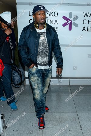 Us Rapper Curtis James Jackson Iii Aka 50 Cent Arrives at the Okecie Airport in Warsaw Poland 01 April 2014 the Musician Will Spend Five Days in Warsaw and Will Participate in Meetings Related to the Presentation of New Headphones 'Sms Audio Manufactured by His Company Poland Warsaw