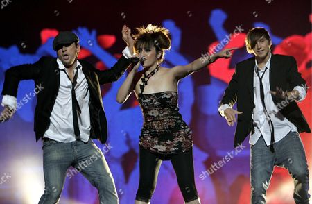 Stock Picture of Shaun Baker Feat Maloy Perform the Song 'Hey Hi Hello' During Best Foreign Song Competition on the Last Day of Sopot Hit Festival 2008 in Sopot Northern Poland Late 09 August 2008 the Song Won the Competition Poland Sopot