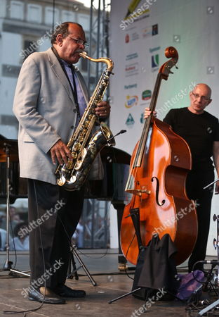 Us Saxophonist Ernie Watts (l) Performs on Stage During Last Concert of the Old Town Square Festival ('jazz Na Starowce') in Warsaw Poland 25 August 2012 Poland Warsaw