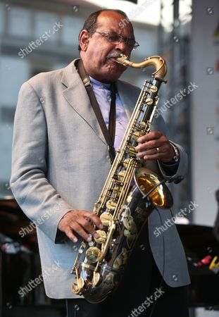 Us Saxophonist Ernie Watts Performs on Stage During Last Concert of the Old Town Square Festival ('jazz Na Starowce') in Warsaw Poland 25 August 2012 Poland Warsaw
