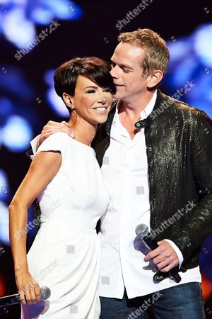 Canadian Singer Garou (r) with Polish Singer Paulla (l) Perform on the Stage During a Concert at the Polsat Sopot Festival 2014 in Sopot Poland 22 August 2014 Poland Sopot