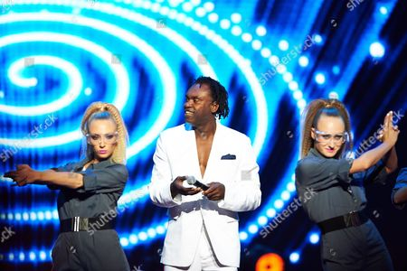 Swedish Singer Dr Alban (c) Performs on the Stage During a Concert at the Polsat Sopot Festival 2014 in Sopot Poland 22 August 2014 Poland Sopot