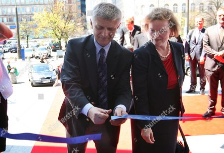 Member of the Executive Board of the European Central Bank (ecb) Gertrude Tumpel-gugerell (r) and the Newly-elected Head of the National Bank of Poland (nbp) Marek Belka (l) Seen at the Opening Ceremony of the Euro Exhibition Organized by the Ecb and Held in the Nbp Headquarters in Warsaw Poland on 11 June 2010 Poland Warsaw