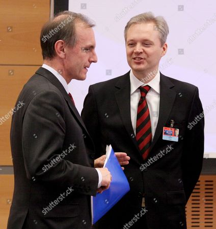 Swedish Minister of Defence Sten Tolgfors (r) and Polish Minister of Defence Bogdan Klich (l) Talking Before the North Atlantic Council and Non-nato Isaf Contributors Meeting in Cracow 19 February 2009 Poland Cracow