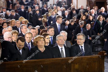 (font Row) President of Poland Bronislaw Komorowski (r) German President Joachim Gauck (2-r) Polish First Lady Anna Komorowska (2-l) and Polish Sejm Speaker Radoslaw Sikorski (l) (2nd Row) Former Polish President and Nobel Peace Prize Laureate Lech Walesa (l) President of the European Council Donal Tusk (2-l) Polish Pm Ewa Kopacz (2-r) and Polish Senate Speaker Bogdan Borusewicz (r) Attend the Holy Mass of the State Funeral of the Late Former Polish Foreign Minister and Polish Prime Minister's Plenipotentiary For International Dialogue Wladyslaw Bartoszewski at the St John's Archcathedral in Warsaw Poland 04 May 2015 Wladyslaw Bartoszewski Poland's Former Foreign Minister Former Auschwitz Prisoner Soldier of Poland's Underground World War Ii Home Army (ak) Member of the Zegota Resistance Unit Devoted to Saving Jews and Democratic Opposition Activist Died on 24 April 2015 at the Age of 93 Poland Warsaw