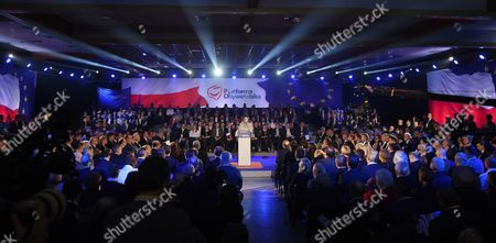 Former Polish Prime Minister Ewa Kopacz (c) Speaks at the Civic Platform (po) Party Meeting in Warsaw Poland 26 January 2016 During the Meeting the New Leader of the Civic Platform (po) Party Will Be Announced the Po Lost the General Elections on 25 October 2015 the Only Candidate For Bid For the Leader is Grzegorz Schetyna Poland Warsaw