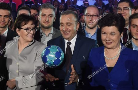 New Civic Platform (po) Leader Grzegorz Schetyna (c) with Former Polish Prime Minister Ewa Kopacz (l) and Mayor of Warsaw Hanna Gronkiewicz-waltz (r) at the Civic Platform (po) Party Meeting in Warsaw Poland 26 January 2016 the Po Lost the General Elections on 25 October 2015 the Only Candidate For Bid For the Leader is Grzegorz Schetyna Poland Warsaw