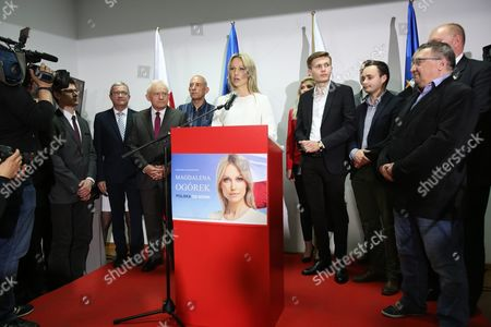 Stock Photo of Democratic Left Alliance (sld) Presidential Candidate Magdalena Ogorek (c) Speaks During Presidential Election Night in Warsaw Poland 10 May 2015 People in Poland Were Casting Ballots For President on 10 May 2015 Choosing From Among 11 Candidates Poland Warsaw
