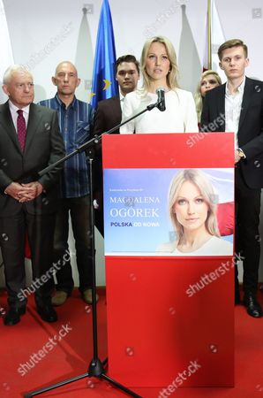 Democratic Left Alliance (sld) Presidential Candidate Magdalena Ogorek (c) Speaks During Presidential Election Night in Warsaw Poland 10 May 2015 People in Poland Were Casting Ballots For President on 10 May 2015 Choosing From Among 11 Candidates Poland Warsaw
