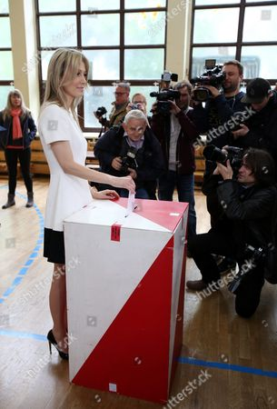 Stock Picture of Democratic Left Alliance (sld) Candidate Magdalena Ogorek Casts Her Vote at a Polling Station During Poland's Presidential Elections in Warsaw Poland 10 May 2015 People in Poland Were Casting Ballots For President on 10 May 2015 with Incumbent Bronislaw Komorowski Expected to Win But Fall Short of the 50 Per Cent Threshold Needed to Avoid a Run-off Poland Warsaw