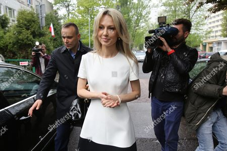 Democratic Left Alliance (sld) Candidate Magdalena Ogorek (c) Arrives at the Polling Station During Poland's Presidential Elections in Warsaw Poland 10 May 2015 People in Poland Were Casting Ballots For President on 10 May 2015 with Incumbent Bronislaw Komorowski Expected to Win But Fall Short of the 50 Per Cent Threshold Needed to Avoid a Run-off Poland Warsaw