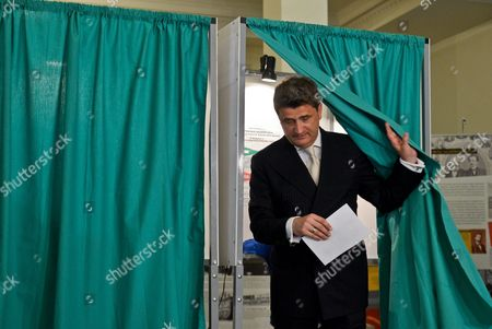 Liberal Leader and Presidential Candidate Janusz Palikot Votes at a Polling Station During Poland's Presidential Elections in Warsaw Poland 10 May 2015 People in Poland Were Casting Ballots For President on 10 May 2015 with Incumbent Bronislaw Komorowski Expected to Win But Fall Short of the 50 Per Cent Threshold Needed to Avoid a Run-off Poland Warsaw