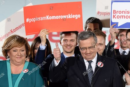 Poland's President and Presidential Candidate Bronislaw Komorowski (r) with His Wife Anna Komorowska (l) During the Presidential Elections Night in Warsaw Poland 10 May 2015 People in Poland Were Casting Ballots For President on 10 May 2015 Choosing From Among 11 Candidates Poland Warsaw