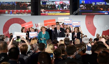 Poland's President and Presidential Candidate Bronislaw Komorowski (c) with His Wife Anna Komorowska (c-l) During Presidential Election Night in Warsaw Poland 10 May 2015 People in Poland Were Casting Ballots For President on 10 May 2015 Choosing From Among 11 Candidates Poland Warsaw