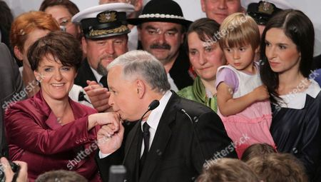 Polish Main Opposition Party Law and Justice (pis) Head and Presidential Candidate Jaroslaw Kaczynski (c) His Elections Staff's Head Joanna Kluzik-rostkowska (l) His Niece the Daughter of the Late Polish President Lech Kaczynski Marta Kaczynska-dubieniecka (r) and Her Daughter Martyna (2r) During Kaczynski's Presidential Elections Night Held in Warsaw Poland on 04 July 2010 the Voting in the Election Runoff Between Kaczynski and the Ruling Party Po's Presidential Candidate Bronislaw Komorowski Has Ended at 2000 Hrs According to First Exit-poll Surveys Komorowski Won Over Kaczynski by a Small Edge Poland Warsaw