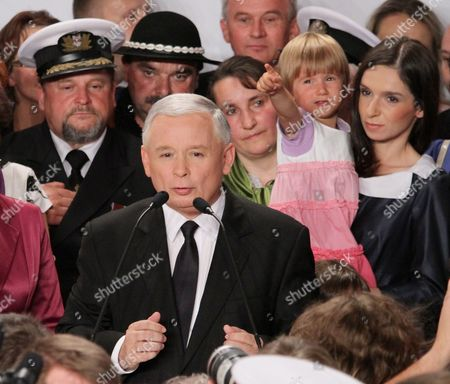Polish Main Opposition Party Law and Justice (pis) Head and Presidential Candidate Jaroslaw Kaczynski (c) His Niece the Daughter of the Late Polish President Lech Kaczynski Marta Kaczynska-dubieniecka (r) and Her Daughter Martyna (2r) During Kaczynski's Presidential Elections Night Held in Warsaw Poland on 04 July 2010 the Voting in the Election Runoff Between Kaczynski and the Ruling Party Po's Presidential Candidate Bronislaw Komorowski Has Ended at 2000 Hrs According to First Exit-poll Surveys Komorowski Won Over Kaczynski by a Small Edge Poland Warsaw