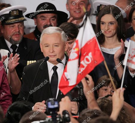 Polish Main Opposition Party Law and Justice (pis) Head and Presidential Candidate Jaroslaw Kaczynski (c) and His Niece the Daughter of the Late Polish President Lech Kaczynski Marta Kaczynska-dubieniecka (r) Seen During Kaczynski's Presidential Elections Night Held in Warsaw Poland on 04 July 2010 the Voting in the Election Runoff Between Kaczynski and the Ruling Party Po's Presidential Candidate Bronislaw Komorowski Has Ended at 2000 Hrs According to First Exit-poll Surveys Komorowski Won Over Kaczynski by a Small Edge Poland Warsaw