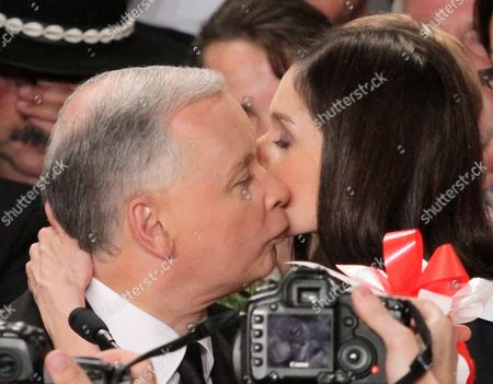 Polish Main Opposition Party Law and Justice (pis) Head and Presidential Candidate Jaroslaw Kaczynski (c) Kisses His Niece the Daughter of the Late Polish President Lech Kaczynski Marta Kaczynska-dubieniecka (r) During Kaczynski's Presidential Elections Night Held in Warsaw Poland on 04 July 2010 the Voting in the Election Runoff Between Kaczynski and the Ruling Party Po's Presidential Candidate Bronislaw Komorowski Has Ended at 2000 Hrs According to First Exit-poll Surveys Komorowski Won Over Kaczynski by a Small Edge Poland Warsaw