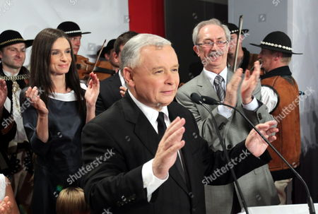 Polish Main Opposition Party Law and Justice (pis) Head and Presidential Candidate Jaroslaw Kaczynski (c) and His Niece the Daughter of the Late Polish President Lech Kaczynski Marta Kaczynska-dubieniecka (l) Seen During Kaczynski's Presidential Elections Night Held in Warsaw Poland on 04 July 2010 the Voting in the Election Runoff Between Kaczynski and the Ruling Party Po's Presidential Candidate Bronislaw Komorowski Has Ended at 2000 Hrs According to First Exit-poll Surveys Komorowski Won Over Kaczynski by a Small Edge Poland Warsaw