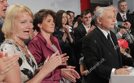 Polish Main Opposition Party Law and Justice (pis) Head and Presidential Candidate Jaroslaw Kaczynski (2r) His Elections Staff's Head Joanna Kluzik-rostkowska (2l) His Niece the Daughter of the Late Polish President Lech Kaczynski Marta Kaczynska-dubieniecka (3l) and Her Husband Maciej Dubieniecki (3r) Pis Mp Jolanta Szczypinska (l) and Kaczynski's Staff Spokesperson Pawel Poncyljusz (r) Seen During Kaczynski's Presidential Elections Night Held in Warsaw Poland on 04 July 2010 the Voting in the Election Runoff Between Kaczynski and the Ruling Party Po's Presidential Candidate Bronislaw Komorowski Has Ended at 2000 Hrs According to First Exit-poll Surveys Komorowski Won Over Kaczynski by a Small Edge Poland Warsaw