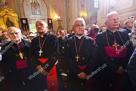 (l-r) Archbishop of Warsaw Henryk Hoser Cardinal Kazimierz Nycz Apostolic Nuncio of Poland Archbishop Celestino Migliore and Archbishop Jozef Michalik Look on During the Visit of Patriarch of Moscow and All Russia Kirill i to a Holy Mass in St Maria Magdalena Orthodox Cathedral in Warsaw Poland 16 August 2012 the Patriarch Arrived For the First-ever Visit to Poland by the Head of the Russian Orthodox Church Hoping to Ease Centuries of Tensions Poland Warsaw