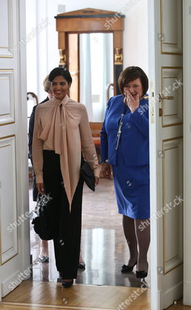 Polish First Lady Anna Komorowska (r) Meets with Saudi Arabia Princess Ameera Bint Aidan Bin Nayef Al-taweel (l) at the Belvedere Palace in Warsaw Poland 14 June 2013 Princess Ameera Al-taweel is on a Two-day Visit to Poland Poland Warsaw