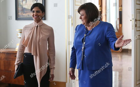 Polish First Lady Anna Komorowska (r) Gestures As She Welcomes Saudi Arabia Princess Ameera Bint Aidan Bin Nayef Al-taweel (l) For Their Meeting at the Belvedere Palace in Warsaw Poland 14 June 2013 Princess Ameera Al-taweel is on a Two-day Visit to Poland Poland Warsaw