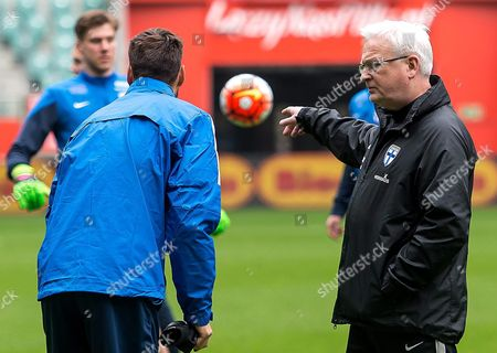 Finnish National Soccer Team's Swedish Head Coach Hans Backe (r) Leads His Team's Training Session at the Municipal Stadium in Wroclaw Poland 25 March 2016 Finland Will Face Poland in an International Friendly Soccer Match on 26 March in Wroclaw Poland Wroclaw