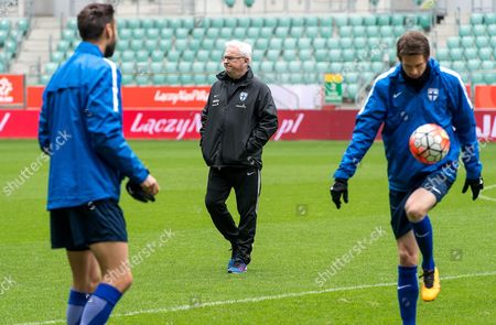 Finnish National Soccer Team's Swedish Head Coach Hans Backe (c) Leads His Team's Training Session at the Municipal Stadium in Wroclaw Poland 25 March 2016 Finland Will Face Poland in an International Friendly Soccer Match on 26 March in Wroclaw Poland Wroclaw